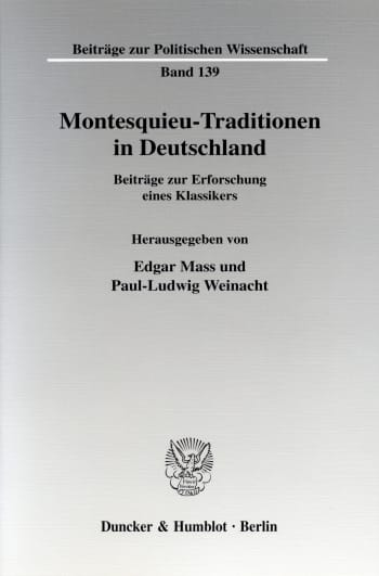 Cover: Montesquieu-Traditionen in Deutschland