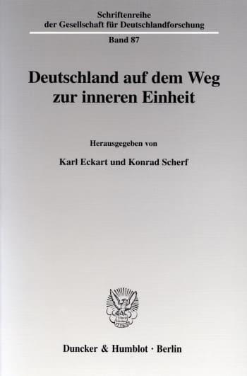 Cover: Deutschland auf dem Weg zur inneren Einheit