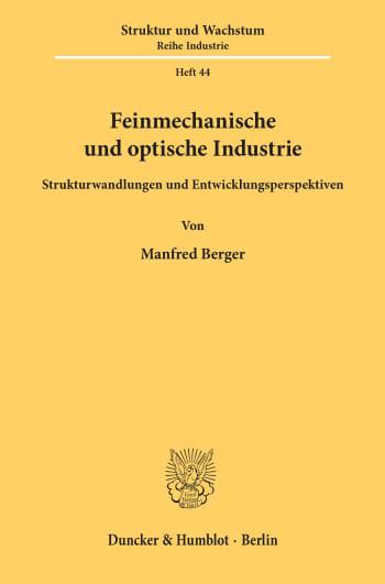 Cover: Feinmechanische und optische Industrie