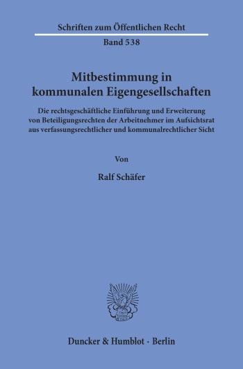 Cover: Mitbestimmung in kommunalen Eigengesellschaften