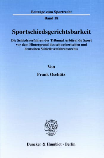 Cover: Sportschiedsgerichtsbarkeit