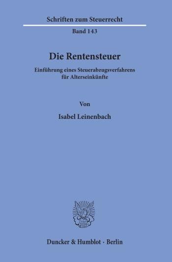 Cover: Die Rentensteuer