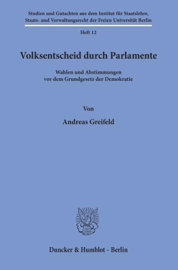 Cover: Volksentscheid durch Parlamente