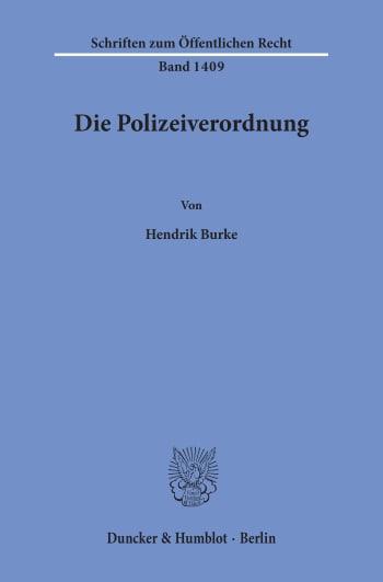 Cover: Die Polizeiverordnung