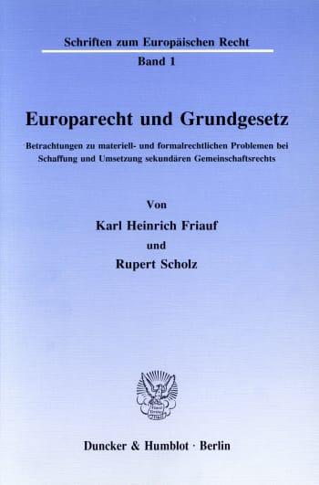 Cover: Europarecht und Grundgesetz