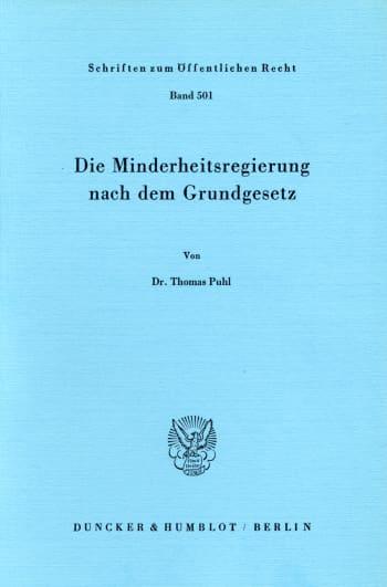 Cover: Die Minderheitsregierung nach dem Grundgesetz