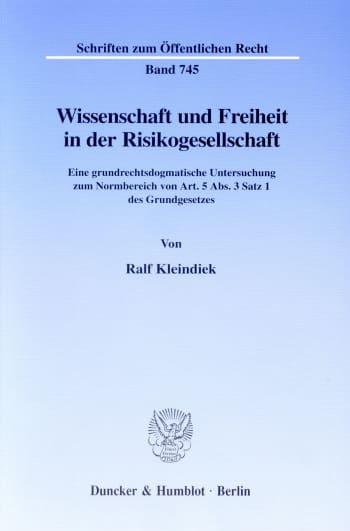 Cover: Wissenschaft und Freiheit in der Risikogesellschaft