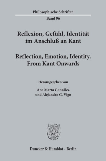 Cover: Reflexion, Gefühl, Identität im Anschluß an Kant / Reflection, Emotion, Identity. From Kant Onwards