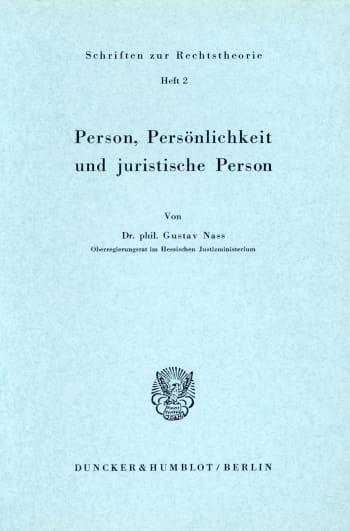 Cover: Person, Persönlichkeit und juristische Person