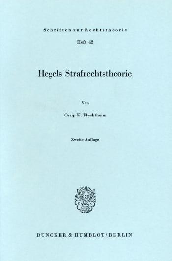 Cover: Hegels Strafrechtstheorie