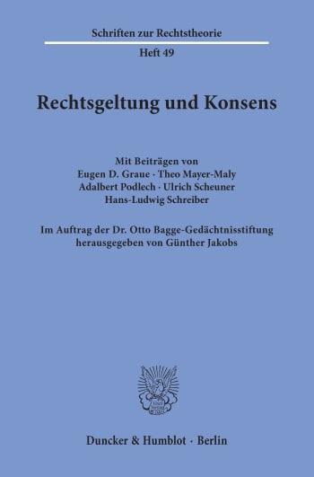 Cover: Rechtsgeltung und Konsens