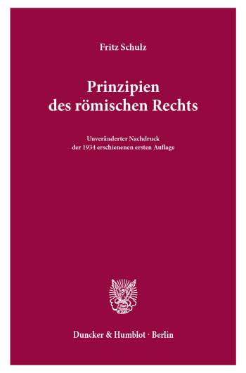 Cover: Prinzipien des römischen Rechts