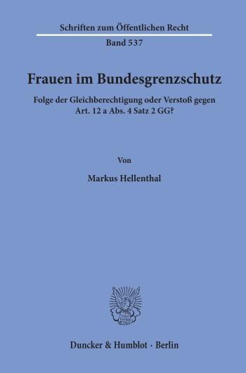 Cover: Frauen im Bundesgrenzschutz