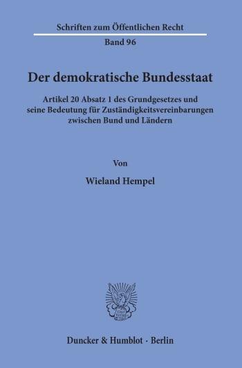 Cover: Der demokratische Bundesstaat