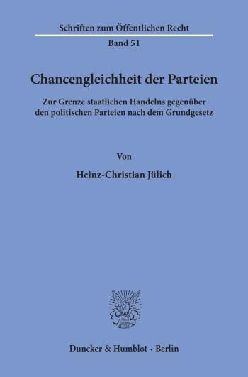 Cover: Chancengleichheit der Parteien