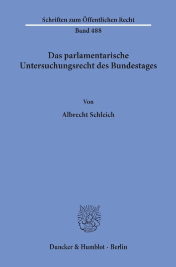 Cover: Das parlamentarische Untersuchungsrecht des Bundestages