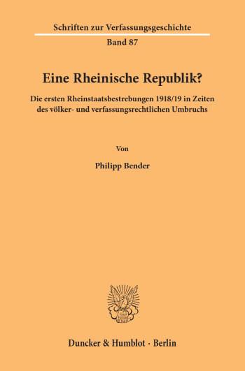Cover: Eine Rheinische Republik?