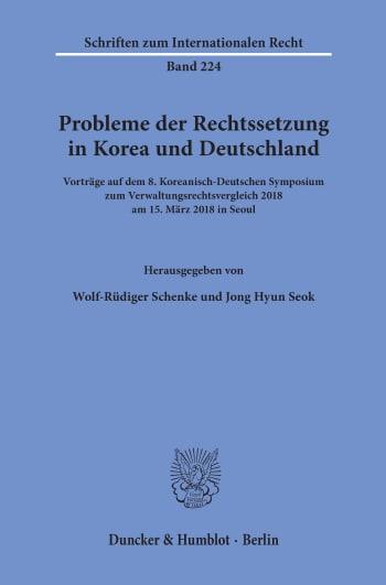 Cover: Probleme der Rechtssetzung in Korea und Deutschland