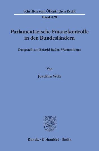 Cover: Parlamentarische Finanzkontrolle in den Bundesländern,