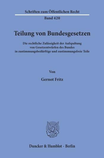 Cover: Teilung von Bundesgesetzen