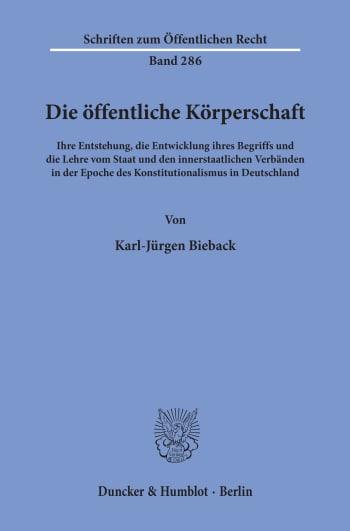 Cover: Die öffentliche Körperschaft