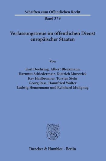 Cover: Verfassungstreue im öffentlichen Dienst europäischer Staaten