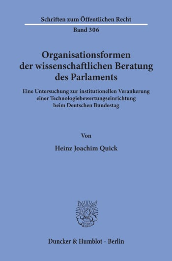 Cover: Organisationsformen der wissenschaftlichen Beratung des Parlaments
