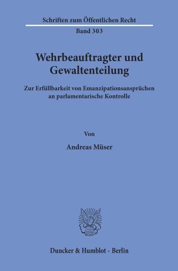 Cover: Wehrbeauftragter und Gewaltenteilung
