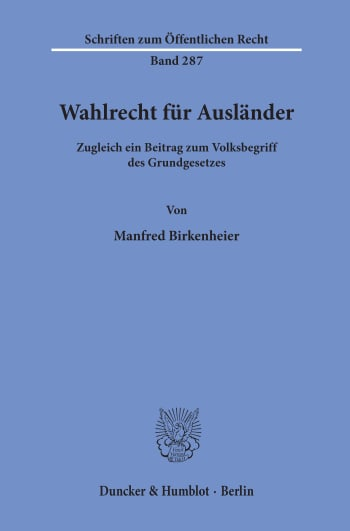 Cover: Wahlrecht für Ausländer
