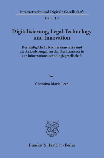 Cover: Digitalisierung, Legal Technology und Innovation