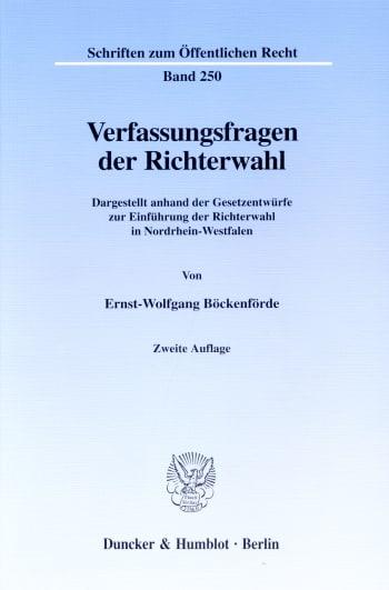 Cover: Verfassungsfragen der Richterwahl