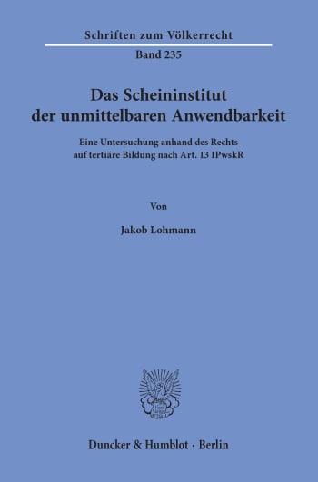 Cover: Das Scheininstitut der unmittelbaren Anwendbarkeit