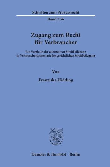 Cover: Zugang zum Recht für Verbraucher