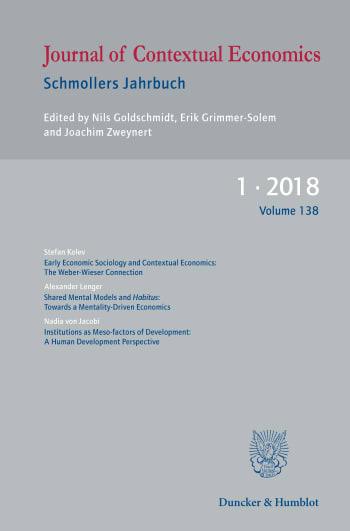 Cover: Journal of Contextual Economics – Schmollers Jahrbuch (JCE)
