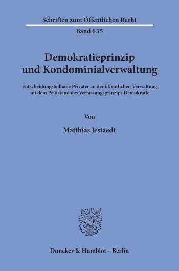 Cover: Demokratieprinzip und Kondominialverwaltung
