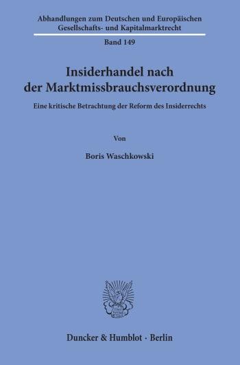 Cover: Insiderhandel nach der Marktmissbrauchsverordnung