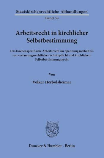 Cover: Arbeitsrecht in kirchlicher Selbstbestimmung
