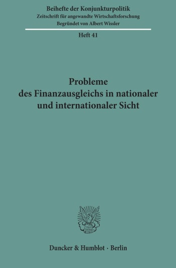 Cover: Probleme des Finanzausgleichs in nationaler und internationaler Sicht