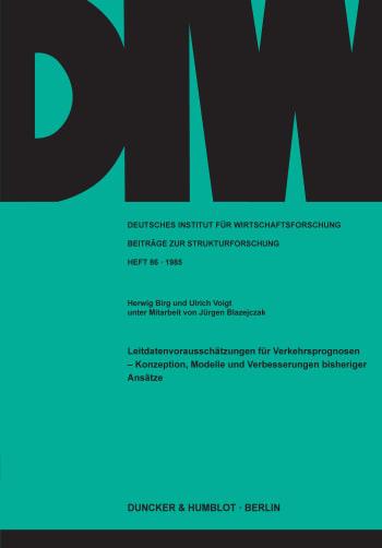 Cover: Leitdatenvorausschätzungen für Verkehrsprognosen -