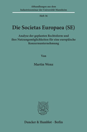 Cover: Die Societas Europaea (SE)