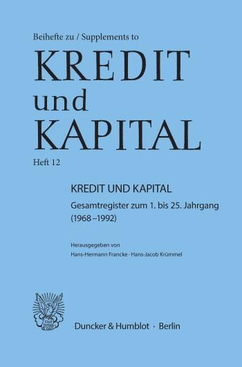 Cover: Kredit und Kapital