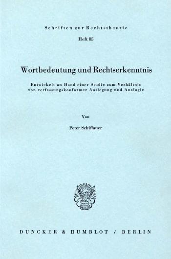 Cover: Wortbedeutung und Rechtserkenntnis