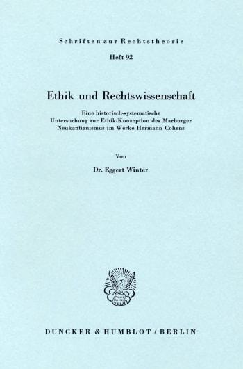 Cover: Ethik und Rechtswissenschaft