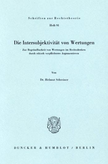 Cover: Die Intersubjektivität von Wertungen