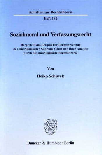 Cover: Sozialmoral und Verfassungsrecht