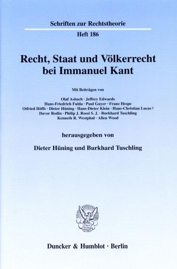 Cover: Recht, Staat und Völkerrecht bei Immanuel Kant