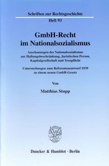 Cover: GmbH-Recht im Nationalsozialismus