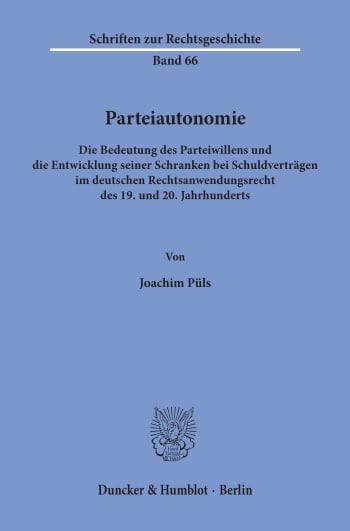 Cover: Parteiautonomie
