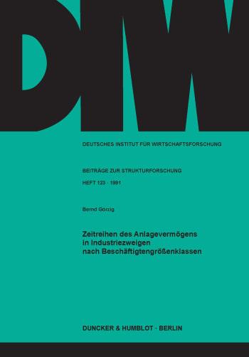 Cover: Zeitreihen des Anlagevermögens in Industriezweigen nach Beschäftigtengrößenklassen