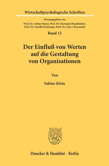 Cover: Der Einfluß von Werten auf die Gestaltung von Organisationen